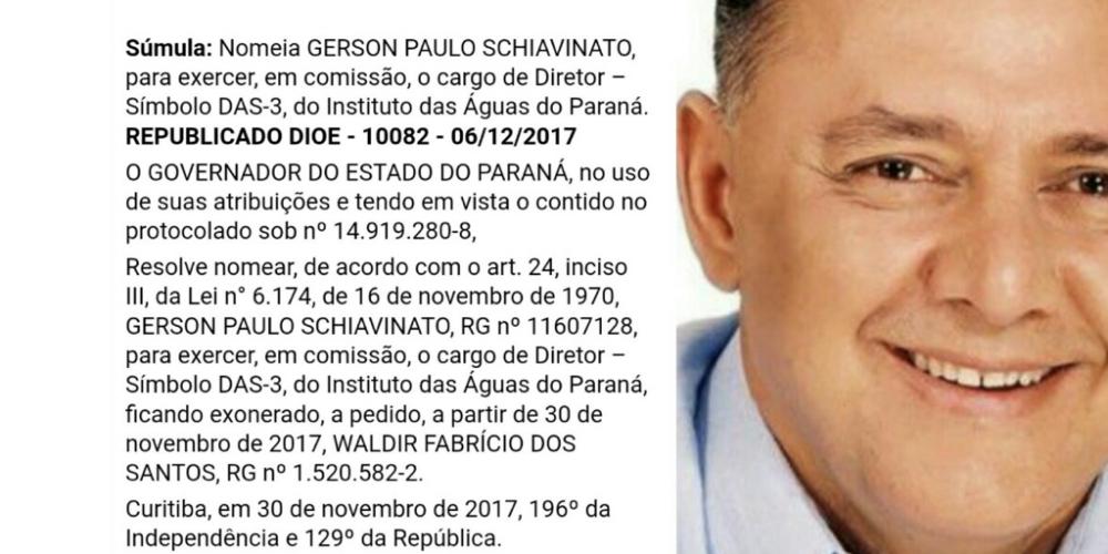 É tudo pela família. Deputado Zé Schiavinato nomeia mais um parente para ocupar um cargo polpudo no governo do Paraná