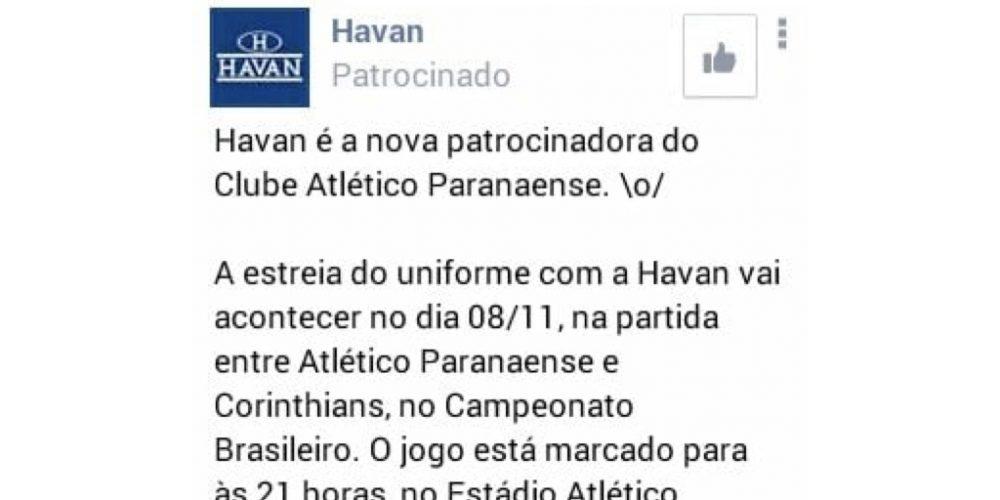 Havan, a nova patrocinadora do Furacão, precisa urgente de uma assessoria de imprensa